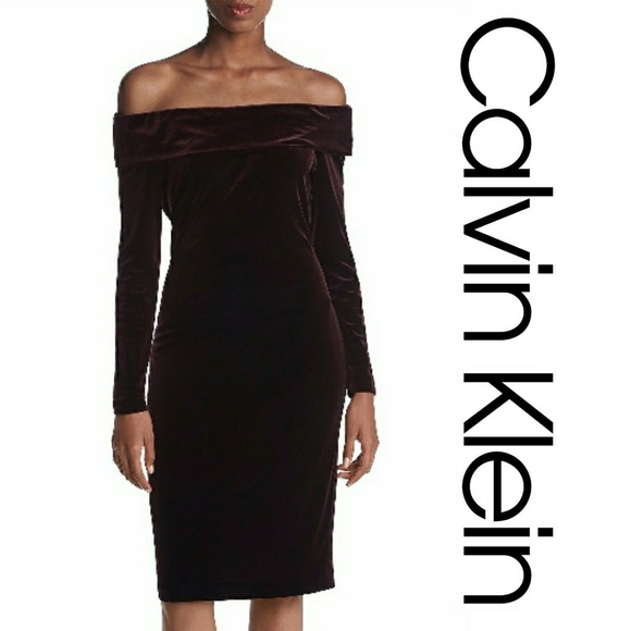 f3ebeb36d345 NWT Calvin Klein Off Shoulder Velvet Sheath Dress